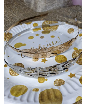 Opaska z liściem srebrna i złota