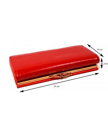 Portfel damski czerwony ze złotym biglem