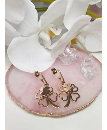 Kolczyki stal dwie koniczynki z różowym złotem
