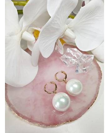 Kolczyki stal wisząca perła