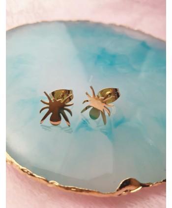 Kolczyki stal złote- pająki