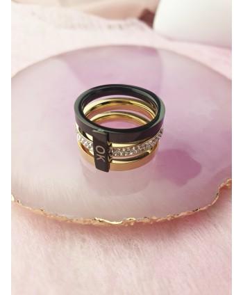 Pierścionek złoto czarny szeroki