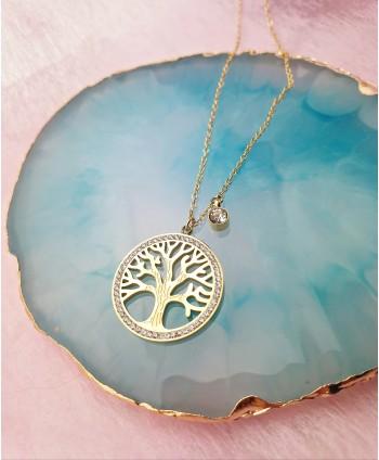 Naszyjnik stal złoty- błyszczące drzewko szczęścia