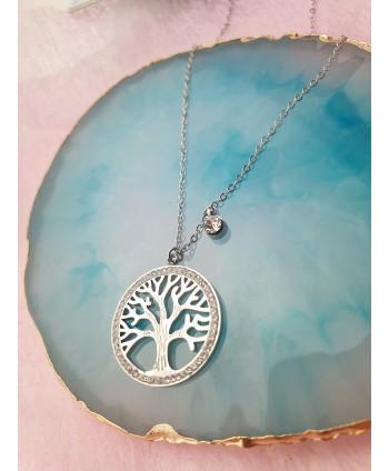 Naszyjnik stal srebrny- błyszczące drzewko szczęścia