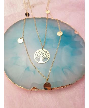 Naszyjnik stal złoty kaskadowe drzewko szczęścia