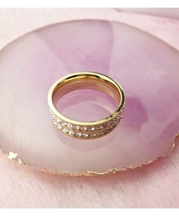 Pierścionek pozłacany kryształki