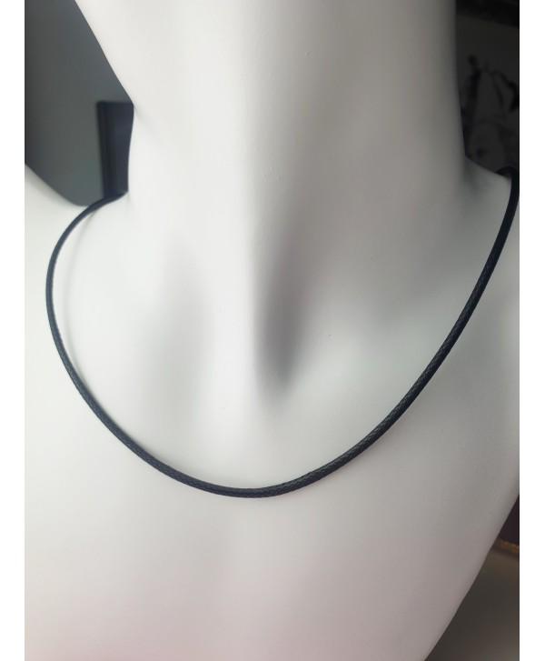Łańcuszek czarny rzemyk 45 cm