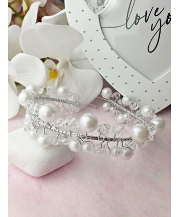 Ozdoba do włosów w srebrze z perełkami