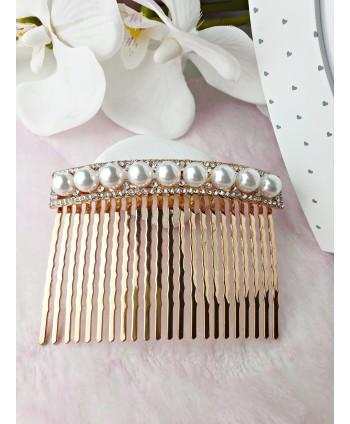 Grzebień ozdobny do włosów z perłami