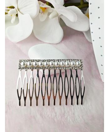 Grzebyk ozdobny srebrny z perełkami