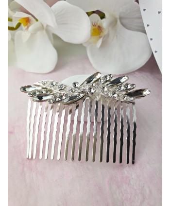 Grzebyk ozdobny srebrny