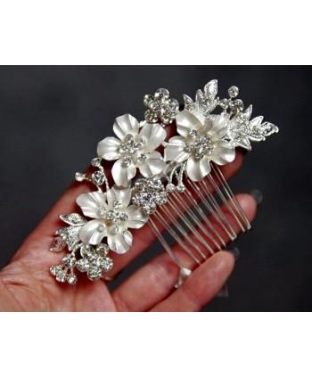 Grzebyk ozdobny srebrny z białą emalią