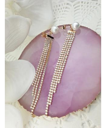 Kolczyki stal złocona z perłą i łańcuszkami z dżetów
