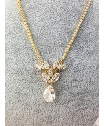 Naszyjnik złoty z krystaliczną łezką