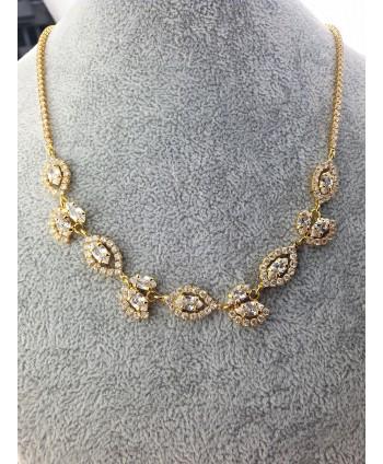 Naszyjnik złoty bogato zdobiony z listkami