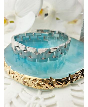 Bransoletka stal srebrna codzienna- stylizowana na bransoletę od zegarka