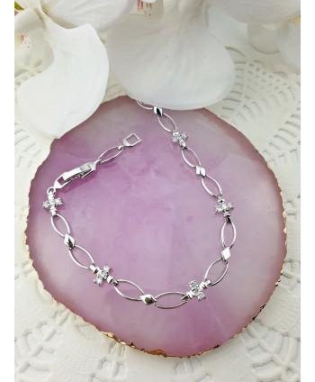 Bransoletka stal srebrna z gładkich owalnych elementów
