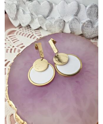 Kolczyki - biały chanel - krótkie