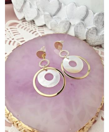Kolczyki stal złota z kółeczek z masą perłową