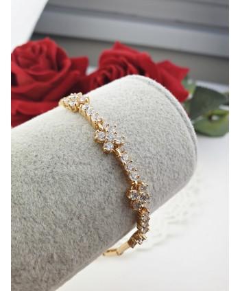 Bransoletka stal złota kwiatuszki z greckim wzorem