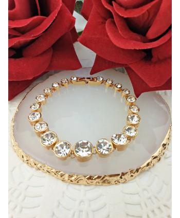 Bransoletka stal złota stopniowane kryształki