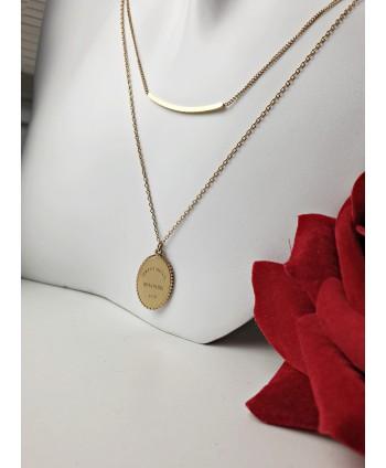 Naszyjnik kaskadowy stal złota z blaszką oraz zawieszką z napisem