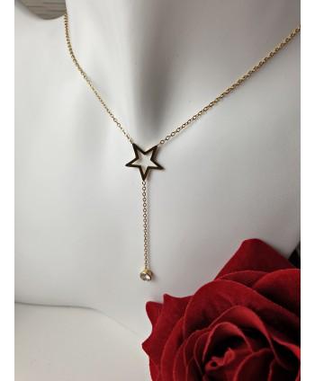 Naszyjnik stal złota ze zwisem z gwiazdką