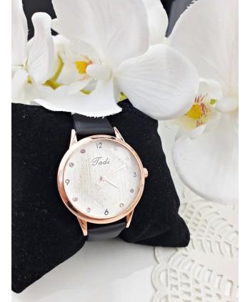 Zegarek damski z różowymi kryształkami na czarnym pasku
