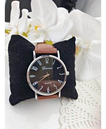 Zegarek damski brązowy pasek z czarną tarczą