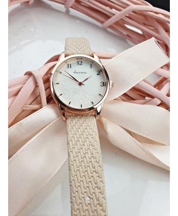 Zegarek damski beżowy z motywem kwiatowym