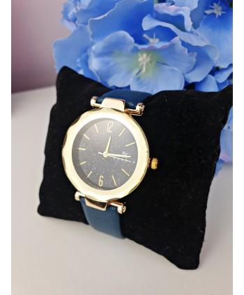 Zegarek damski granatowy z brokatową tarczą