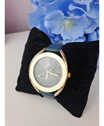 Zegarek damski turkusowy z kryształkowym cyferblatem