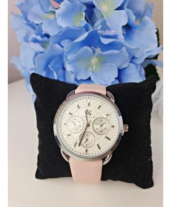 Zegarek damski pudrowy róż ze srebrem