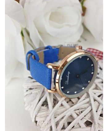 Zegarek damski z niebieską tarczą z serduszkiem