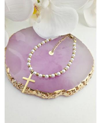 Bransoletka stal złota z perełkami i krzyżykiem