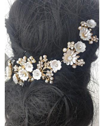 Ozdoba do włosów białe kwiatuszki