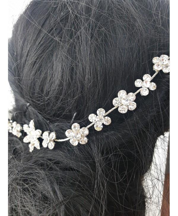 Ozdoba do włosów srebrna kwiatki