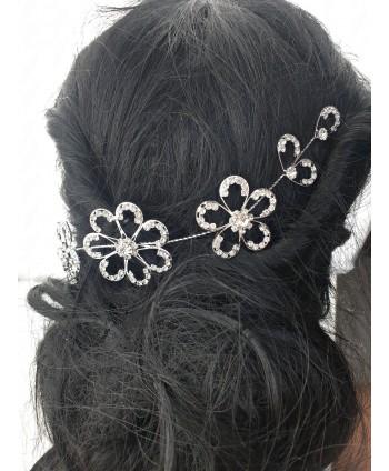 Ozdoba do włosów srebrna duże kwiaty