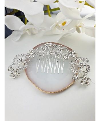 Grzebień ozdobny srebrny duże kwiaty