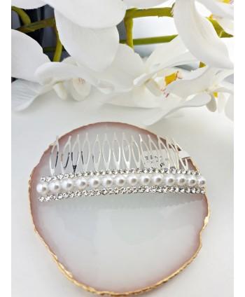 Grzebień ozdobny do włosów z cyrkonią i perełkami