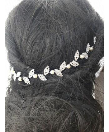 Ozdoba na druciku srebrna z perełkami