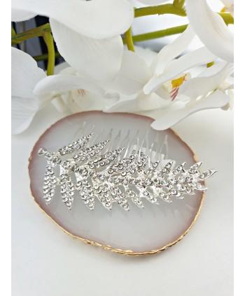 Grzebień ozdobny srebrny liść