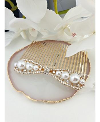 Grzebień ozdobny do włosów- kokarda z perłami