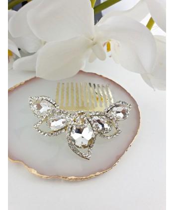 Grzebień ozdobny do włosów z kryształkami na złocie
