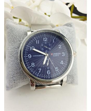 Zegarek męski niebieska tarcza na srebrnej bransolecie