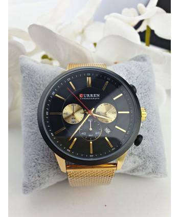 Zegarek męski na złotej taśmowej bransolecie