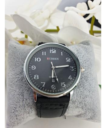Zegarek męski czarny pasek ze srebrem