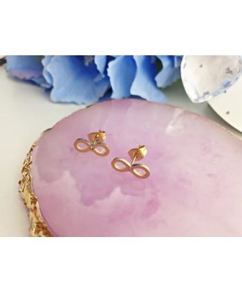 Kolczyki stal złote znaki nieskończoności z kryształkiem