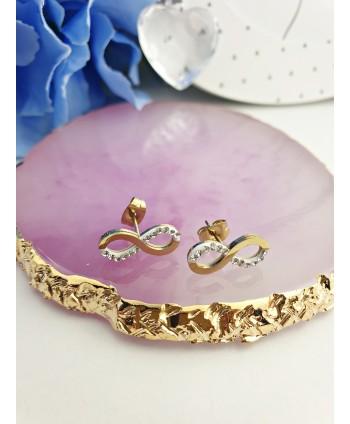 Kolczyki stal złote znaki nieskończoności z drobnymi kryształkami