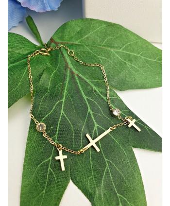 Bransoletka stal złota krzyżyki z cyrkoniami